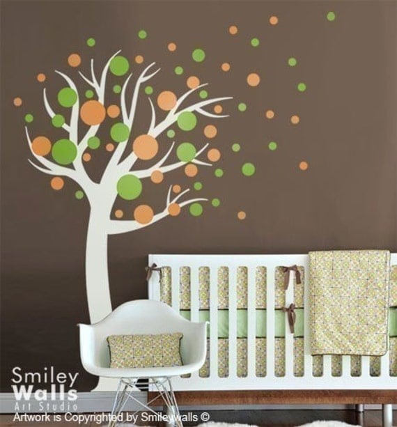 Polka Dot Wall Decals For Kids Rooms : Kids Wall decal Polka Dots Circles Tree- Nursery Vinyl Wall Decal ...