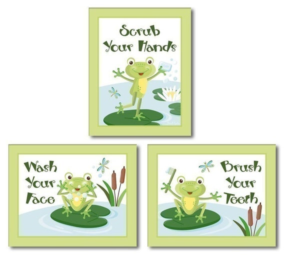 Kids Wall Art Nursery Decor Froggy Frog Set of 3 Bathroom Prints Wall Art
