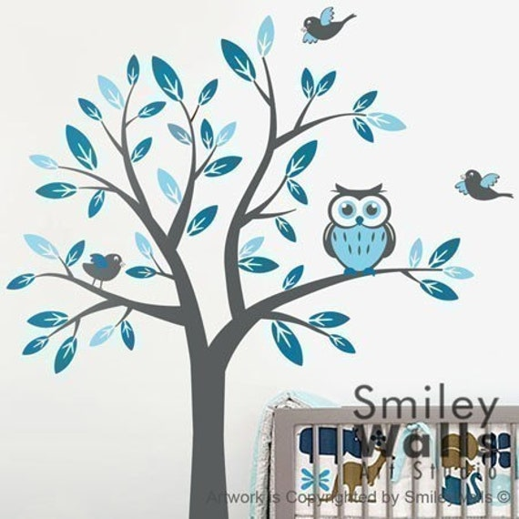 Items similar to kids nursery vinyl wall decal art tree for Bird and owl tree wall mural set