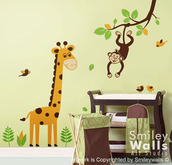 jungle wall decal monkey wall decal giraffe wall decal. Black Bedroom Furniture Sets. Home Design Ideas