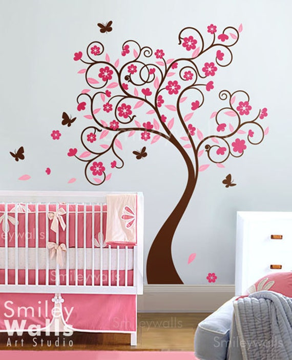 Cherry BlossomTree Wall Decal Wall Sticker children wall decal  - Curly Flower Tree with Butterflies - Nursery Vinyl Wall Decal