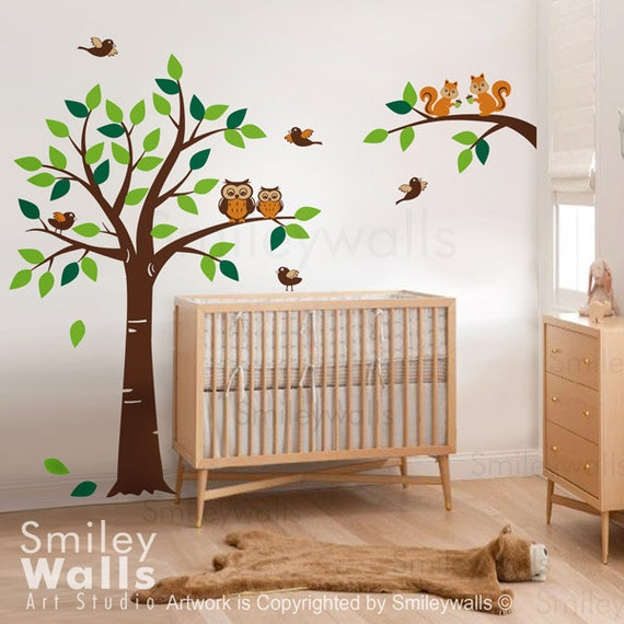 Forest Tree Wall Decal Branch with Squirrels Owls and Birds Wall Decal Owls Wall Decal - Kids Children Nursery Vinyl Wall Art  Decal Set