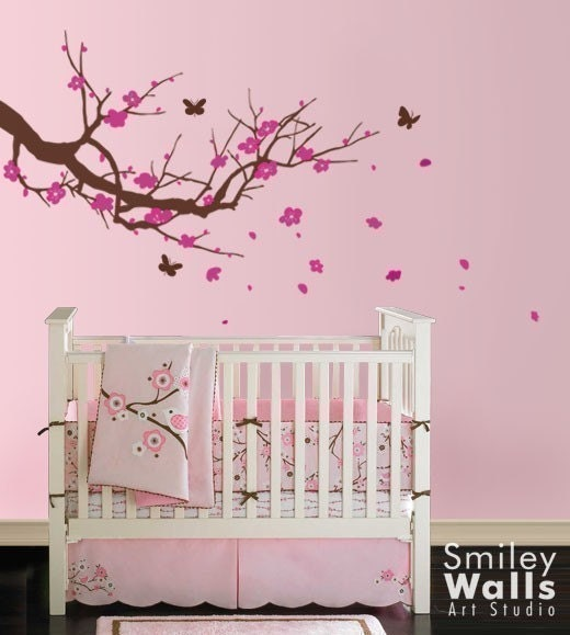 Cherry Blossom Tree With Butterflies Nursery Vinyl Wall