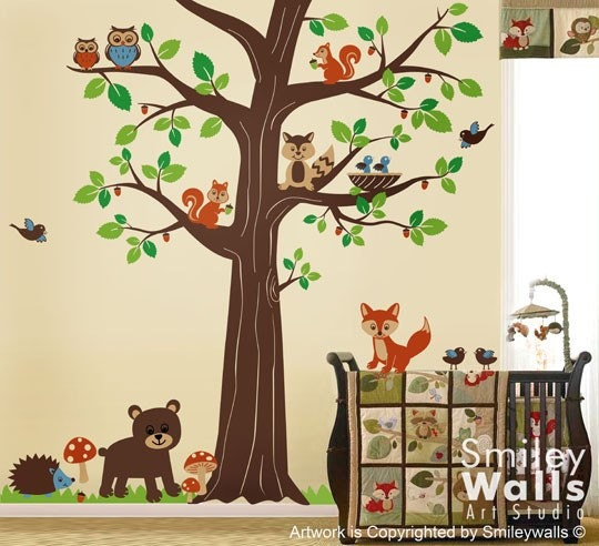 woodland animals wall decal forest animals huge tree wall. Black Bedroom Furniture Sets. Home Design Ideas