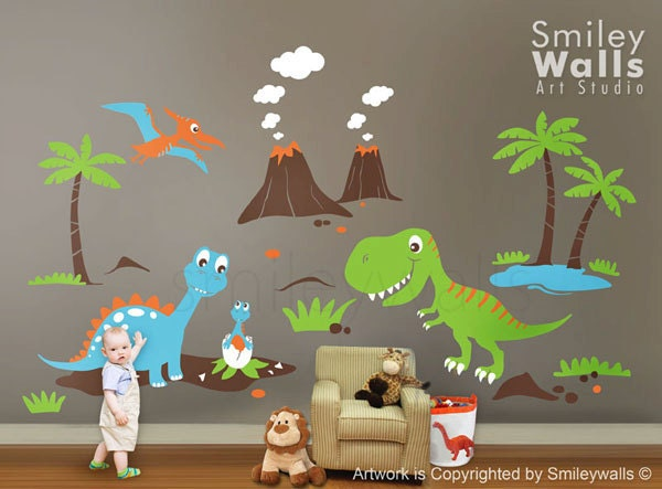 Dinosaurs wall decal dino dinosaurs land huge set baby for Dinosaur wall decals for kids rooms