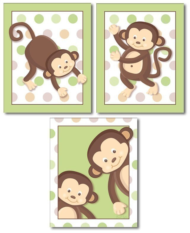 SET OF 3 MONKEY POP MONKEYS NURSERY DECOR ART by smileywalls