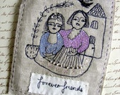Friends Forever - Embroidery artwork - Original textile and fiber art