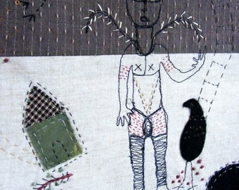 The Guardian - Handmade textile wall hanging - story in thread  inspired by myth.