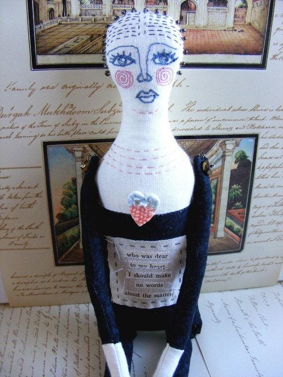 Original mixed media handmade art doll - Celine - Textile Artist Doll