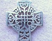 PENDANT,Sterling ,Silver, CELTIC, Cross  SS Bail, Weave, Goth, Medieval