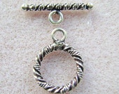 CLASP, Toggle, 1 Strand, STERLING Silver, Closure, Rope, Round, Medium