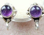 Stud, Earwire, Amethyst, Sterling, Silver, Post, Gemstone, Hanging Loop, Butterfly, Clutch, High Quality