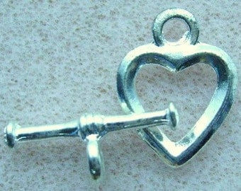 Clasp, Pewter, Silver,  HEART,  TOGGLE, 1,3, 10 Sets, Closure, Bracelet Clasp, I