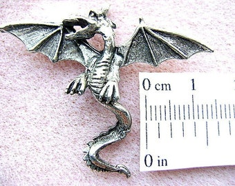 PENDANT, DRAGON,  PEWTER, Silver, Gold, Winged, Goth, Mystical, Occult, Sorcery, Flying, Wican