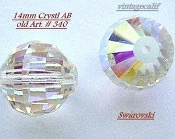 Beads, VINTAGE,14mm,  Swarovski ,Beads  CrystaL AB, Art 340, Focal, Large