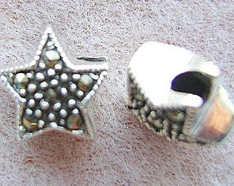 BEAD, STAR, STERLING, Marcasite, Silver, Goth, Celestial, Moon, Pendant