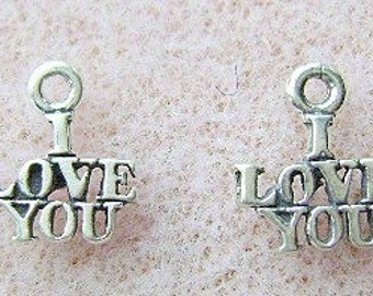 Charm,Sterling, Silver, I LOVE YOU, Charm, 10 Piece Lot,  USA Made, Romance, Wedding