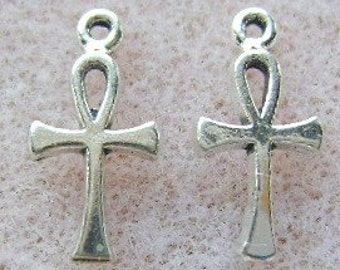 Charms, Sterling, Silver, ANKH, 10 Piece Lot, Egyptian, Life, Mystical