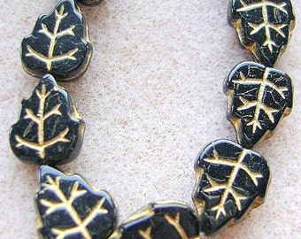BEAD,CZECH ,LEAF,  10 X 9mm, Jet, with Gold Veins, 25 Bead Strand,