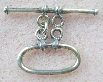 STERLING Silver, MED, CLASP,  2 Strand, Bali,  Toggle, Closure, Antiqued, Necklace