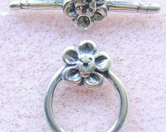STERLING Silver,  CLASP,  1 Strand, Flower  Toggle, Closure