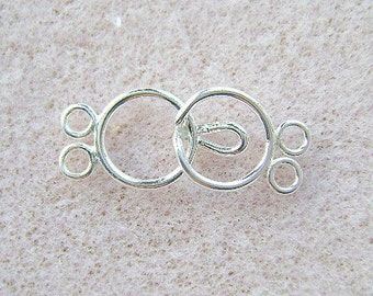 Sterling, SILVER, Clasp, 2 Strand,  PLAIN, SMOOTH,  Connector