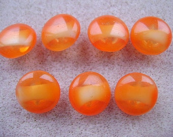 BUTTONS,  German,  Vintage,  10MM , Glass, Carnelian Agate, 1920s,Orange, I