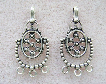 Chandelier, Earring ,Sterling, Silver, Findings, Clasp, closure, 3 strand, 1 Pair