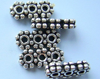 Spacer, BALI, STERLING, SILVER, Bar, 3 Strand, 2 Pc Lot,  3 Hole-, Double Width, I