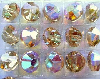 Beads, VINTAGE,  SWAROVSKI,  Crystal,  Article 5100,  Lt ColoradoTopaz AB,  10mm,  20 Pieces, c