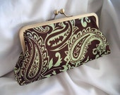 Paisley Satin Clutch - Brown and Green - Customizable Clutch - personalize your clutch - fall wedding - formal clutch - bridesmaid clutch