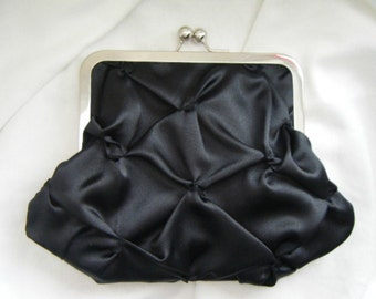Black satin clutch - kiss lock clutch - wedding accessories - bridesmaid clutch - bride - personalized gifts - clutch purse -black bag