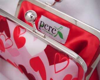 Pink and Red Hearts Clutch - Valentine's Day Clutch - Hearts - cute clutch - fun bag - Satin Clutch - Ready To Ship - Queen of Hearts