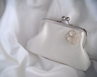 Bride's Clutch - Small White Silk Bridal Clutch - sequin flower - personalized clutch - wedding clutch - handmade clutch - perebags