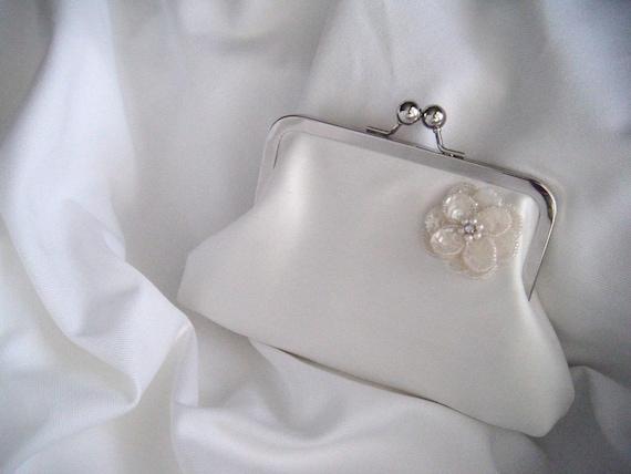 Bride's Clutch - Small White Silk Bridal Clutch - sequin flower - personalized clutch - wedding clutch - handmade clutch - perebags