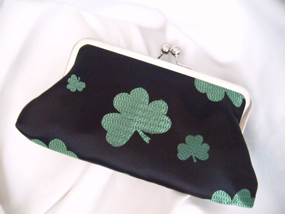 Shamrock - clutch -  St.Patty's Day - satin Clutch - black and green satin clutch - St Patricks Day Clutch - clover clutch - purse