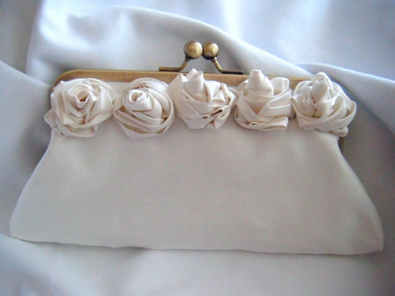 Clutch with Flowers - Ivory Silk Bridal Clutch - something blue - Romantic Clutch - Wedding clutch - clutch with flowers - personalized