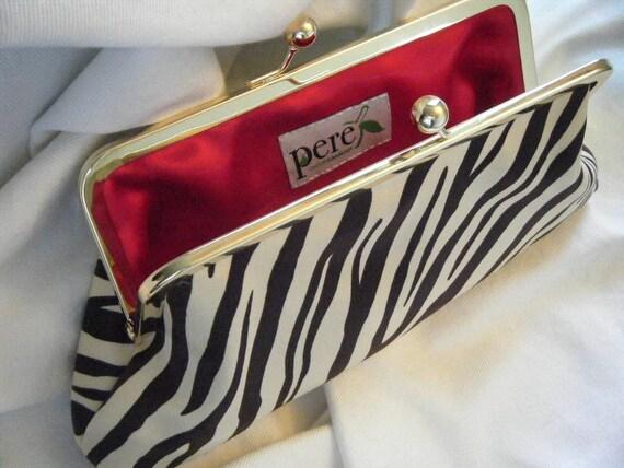 Zebra Clutch - Brown - Cream - Gold - Red - Satin Clutch - PHOTO SAMPLE CLUTCH - reduced price - sale clutch - party clutch - prom clutch