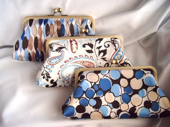 Wedding clutch - Something Blue - Bridesmaids - Choose Your Own clutch - Brown and Blue - Satin Clutch - Clutch Set - bridesmaids gifts