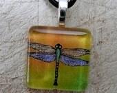 Dragonfly Series Green to Orange - Glass Tile Pendant