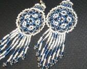Iced Blue Bead Weave Mandala Shield Earrings