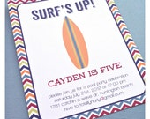 surfs up. surfing pool party birthday invitation. printed and handmade.