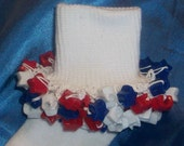 Red, White, and Blue Star Beaded Girly Socks