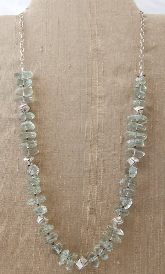 Green Amethyst, Hill Tribe Silver, Sterling Silver necklace