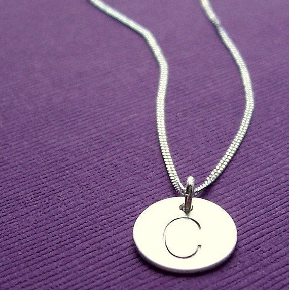 Single Initial Necklace in Sterling Silver - EWD - Free Shipping