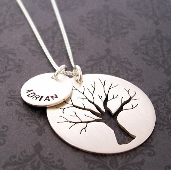 Family Oak Tree Necklace with Child's Name - EWD Hand Stamped and Personalized Sterling Silver Charms - Hand Pierced Silhouette