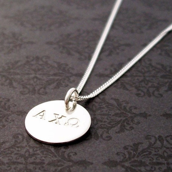 Greek Sorority Pendant - Greek Letters Necklace - EWD Hand Stamped Sterling Silver