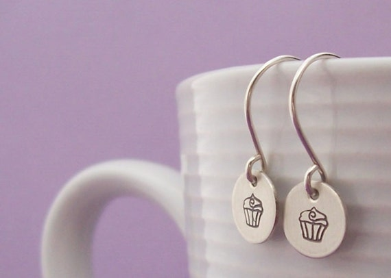 Cupcake Earrings in Sterling Silver - Hand Stamped Engraved Cupcake Design by Eclectic Wendy Designs