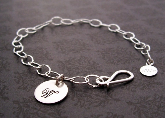 Personalized Bracelet - Bridesmaid Jewelry -  Initial Charm Bracelet in Sterling Silver - Engraved, Hand Stamped Mother's Initial Bracelet