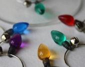 Christmas Lights Wine Glass Charms - Set of 6